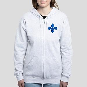 Blue Fleur-de-Lys Women's Zip Hoodie