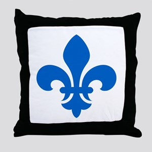 Blue Fleur-de-Lys Throw Pillow
