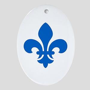 Blue Fleur-de-Lys Oval Ornament