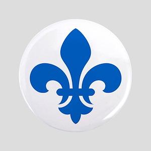 """Blue Fleur-de-Lys 3.5"""" Button"""