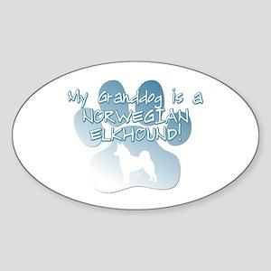 Norwegian Elkhound Granddog Oval Sticker