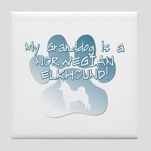 Norwegian Elkhound Granddog Tile Coaster