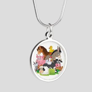 Cartoon Farm Animals Silver Round Necklace