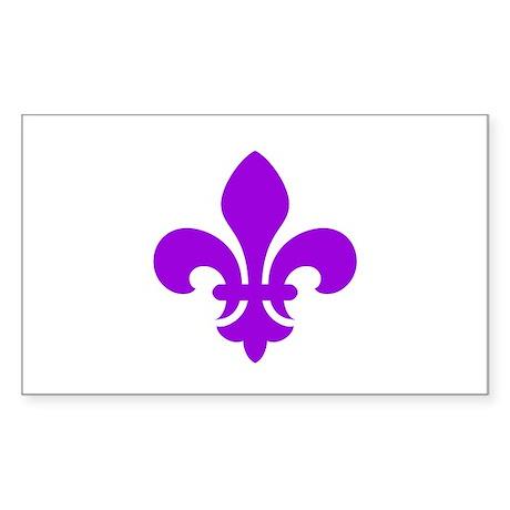 Purple Fleur-de-Lys Rectangle Sticker