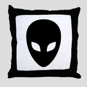 Black Alien Throw Pillow