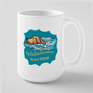 golden Retriever waves Large Mug