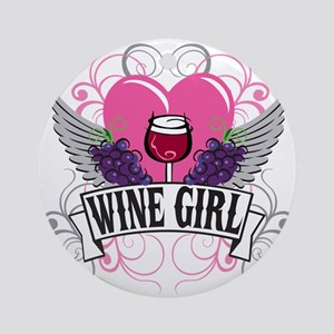 Wine Girl Heart Ornament (Round)
