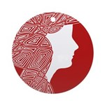 Red Lady Ornament (Round)
