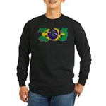 Brazilian flag colours BJJ Long Sleeve Dark T-Shir
