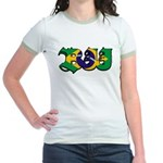 Brazilian flag colours BJJ Jr. Ringer T-Shirt