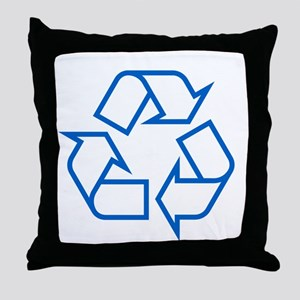 Blue Recycle Throw Pillow