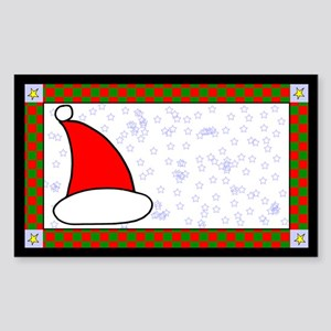 Santa Hat Label Rectangle Sticker