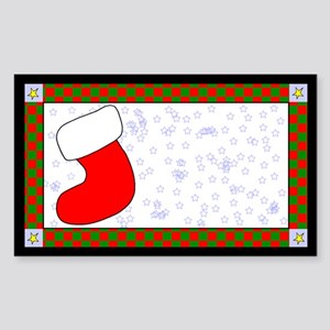 Christmas Sock Label Rectangle Sticker