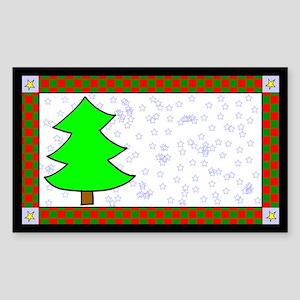 Christmas Tree Label Rectangle Sticker