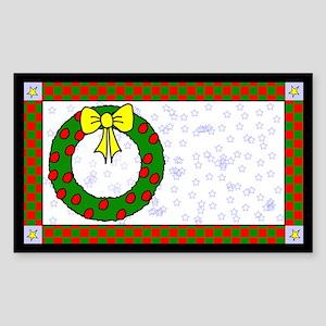 Christmas Wreath Label Rectangle Sticker