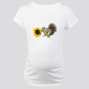 Squirrel Sunflower Maternity T-Shirt