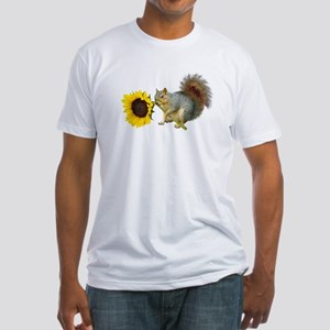Squirrel Sunflower Fitted T-Shirt
