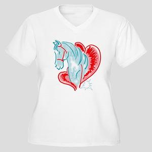 blue horse Women's Plus Size V-Neck T-Shirt
