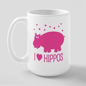 I Love Hippos Large Mug