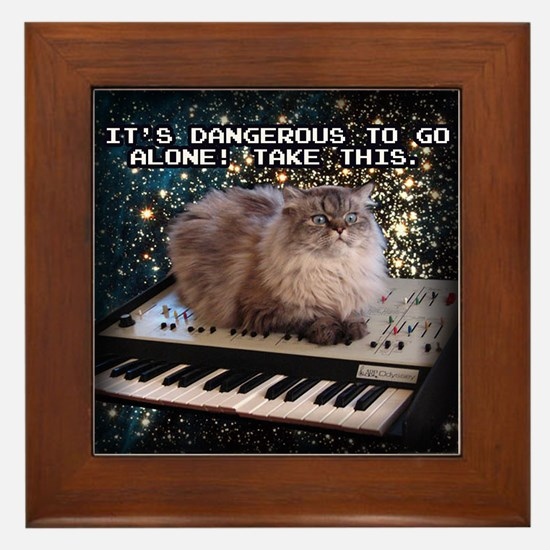 Cat On A Keyboard In Space Framed Tile