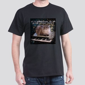 Cat On A Keyboard In Space Dark T-Shirt