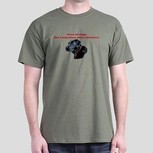 Sleep with Labradors Black T-Shirt