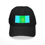 Abstract Design Black Cap (green & blue)