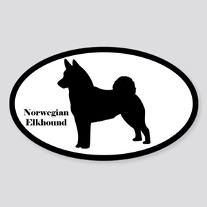 Norwegian Elkhound Silhouette Oval Sticker