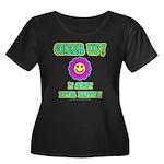 Cheer Up Women's Plus Size Scoop Neck Dark T-Shirt