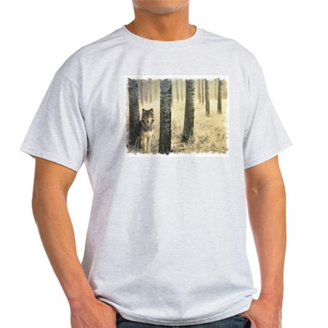 """""""Wolf In Woods"""" Ash Grey T-Shirt"""