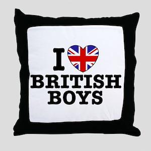 I Love British Boys Throw Pillow