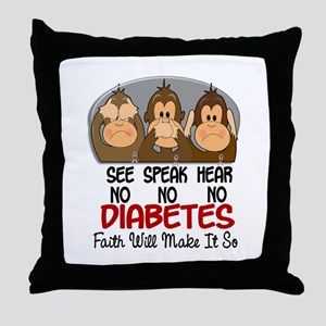See Speak Hear No Diabetes 1 Throw Pillow