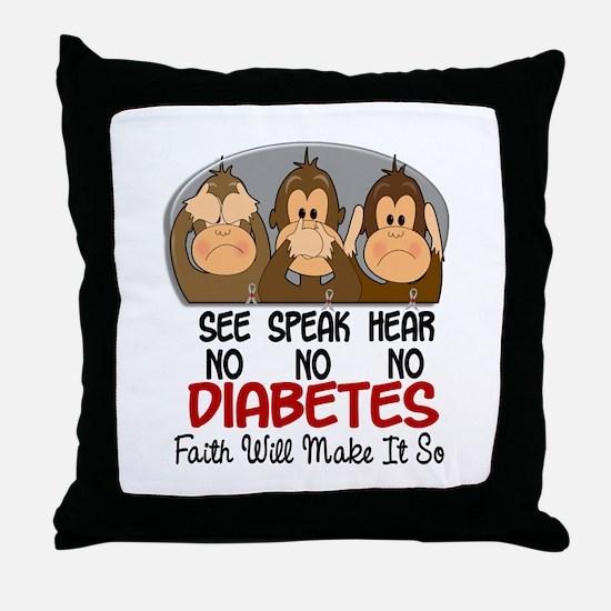 See Speak Hear No Diabetes 1 Throw Pillow