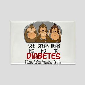 See Speak Hear No Diabetes 1 Rectangle Magnet