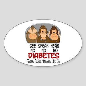 See Speak Hear No Diabetes 1 Oval Sticker