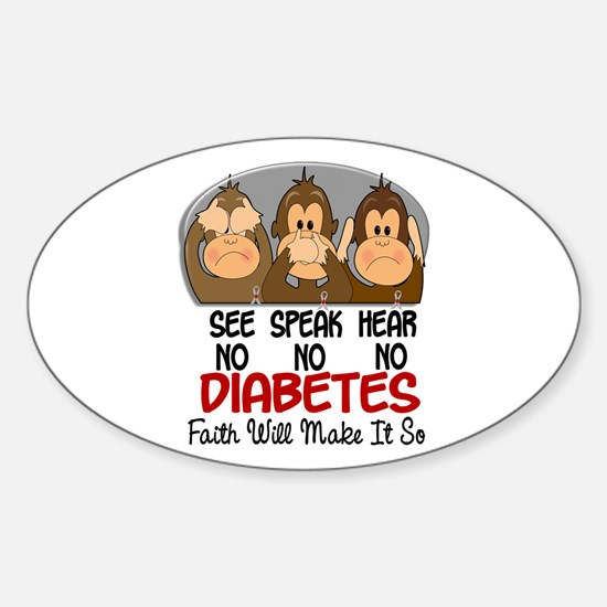 See Speak Hear No Diabetes 1 Oval Decal