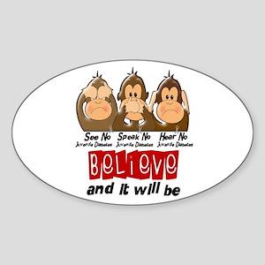 See Speak Hear No Juv Diabetes 3 Oval Sticker
