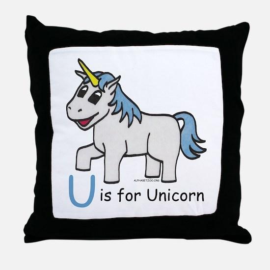 U is for Unicorn Throw Pillow