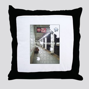 Lonely New York City Subway Throw Pillow