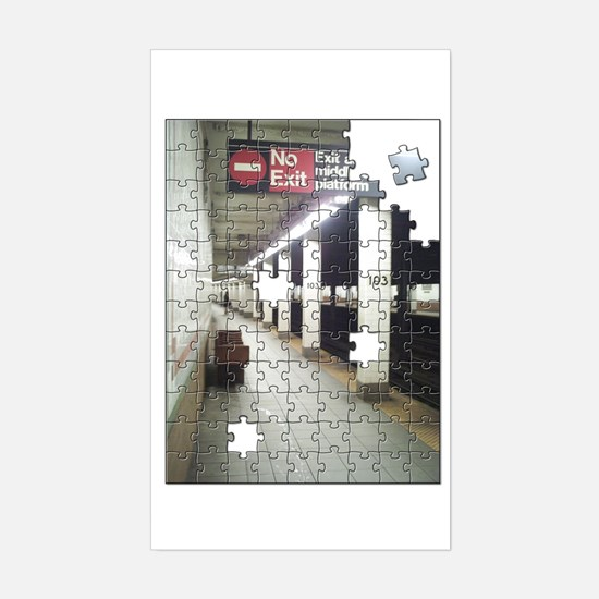 Lonely New York City Subway Rectangle Decal