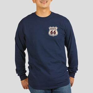 Retro Vintage Rte 66 Long Sleeve Dark T-Shirt