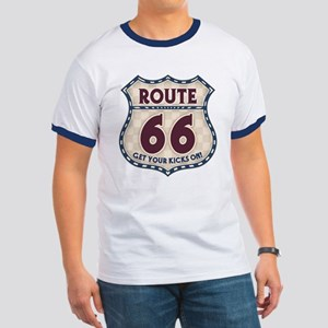 Retro Vintage Rte 66 Ringer T