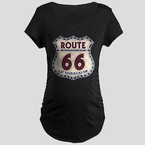 Retro Vintage Rte 66 Maternity Dark T-Shirt