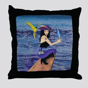 Pirate Wench Walks The Plank Throw Pillow