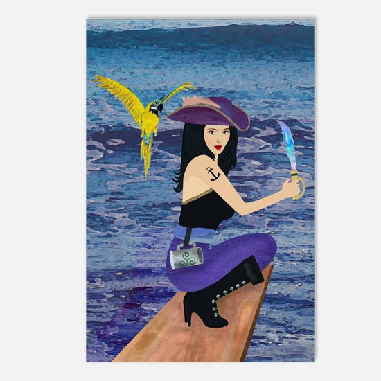 Pirate Wench Walks The Plank Postcards (Package of