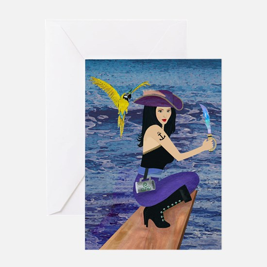 Pirate Wench Walks The Plank Greeting Card