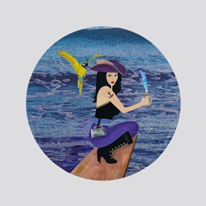 "Pirate Wench Walks The Plank 3.5"" Button"