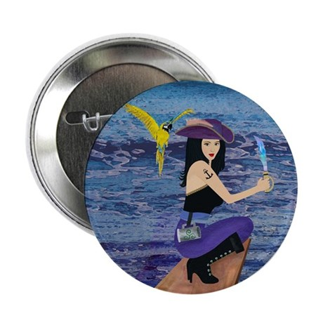"""Pirate Wench Walks The Plank 2.25"""" Button (10 pack"""