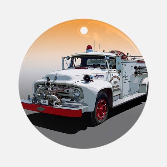 The Big Job Firetruck Ornament (Round)