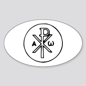Chi Rho Oval Sticker